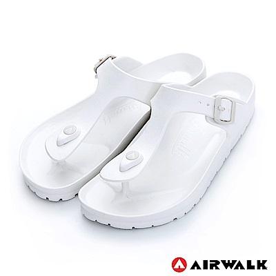 【AIRWALK】EVA中性T字羅馬夾腳拖鞋-白色