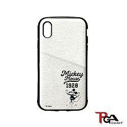 iPhone XS/XR  迪士尼 皮革斜口袋 軍規防撞 手機殼-米奇米白