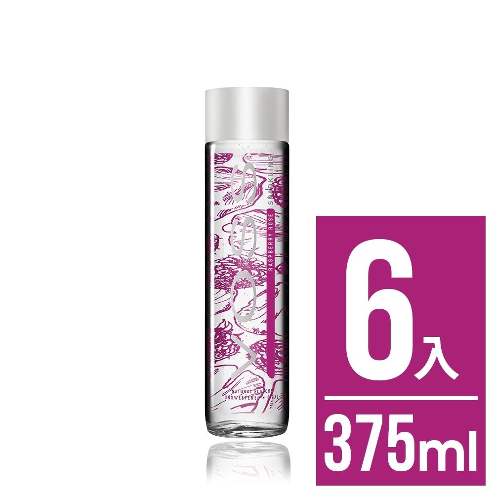 VOSS挪威芙絲 覆盆莓玫瑰風味氣泡礦泉水6入x375ml(時尚玻璃瓶)