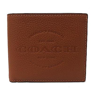 COACH 壓印大LOGO男款8卡對折輕便短夾(棕)