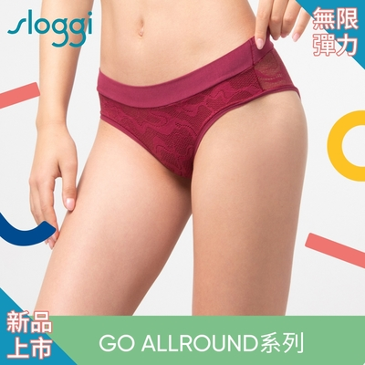 sloggi GO Allround Lace全方位無限彈力蕾絲系列中腰三角褲 深紫紅 87-2227 7H