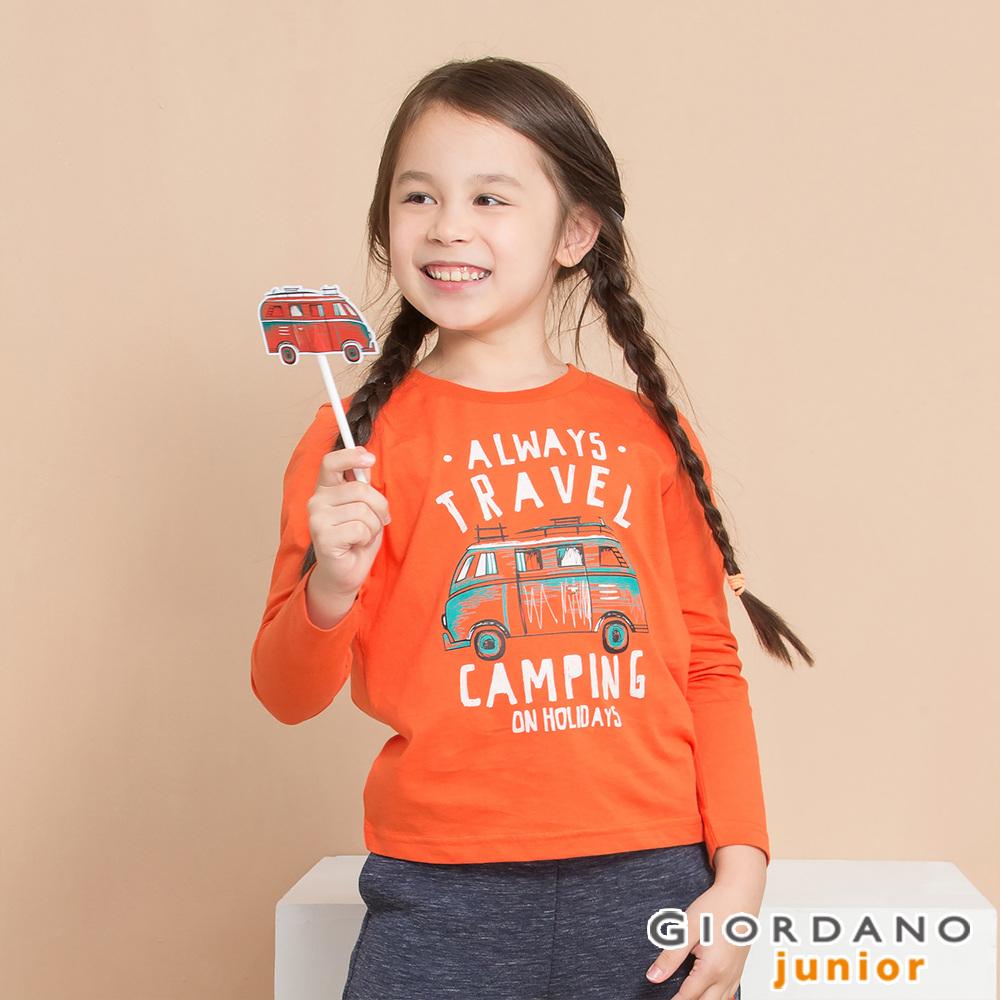 GIORDANO 童裝冒險旅程印花長袖T恤-71 錦鯉橙 @ Y!購物