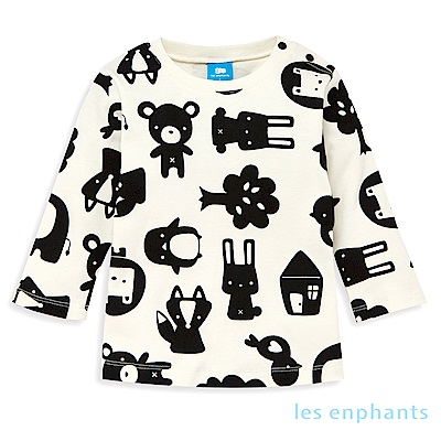 les enphants baby有機動物園動物剪影上衣 (黑色)