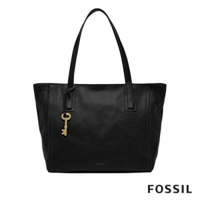 FOSSIL EMMA 復古簡約黑色真皮肩背手提托特包 ZB6844001