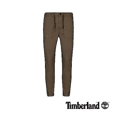 Timberland 男款軍綠色錐形修身彈性斜紋布慢跑褲|A1ZN8