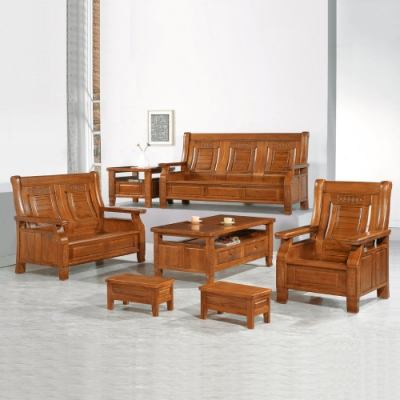 MUNA 3321型柚木色實木組椅(全組)(附坐墊)  186X79X103cm