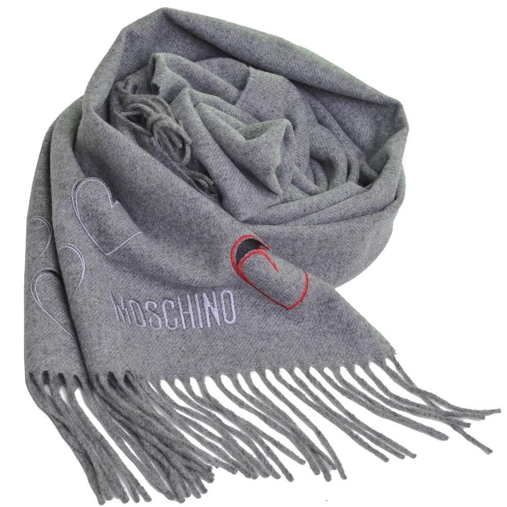 MOSCHINO 義大利製美麗諾羊毛繽紛愛心刺繡圖騰字母LOGO刺繡披肩/圍巾(灰色) @ Y!購物