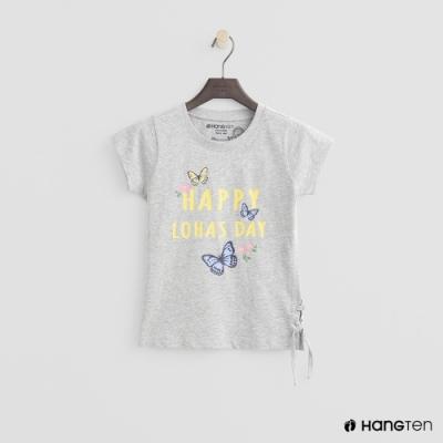 Hang Ten -童裝 - 有機棉-可愛圖樣側抽繩短袖T - 灰