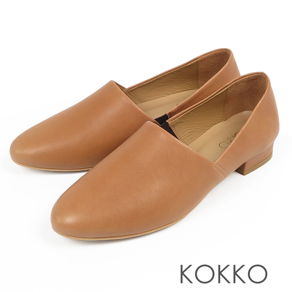 KOKKO -舒適軟底羊皮方頭平底鞋-風衣棕