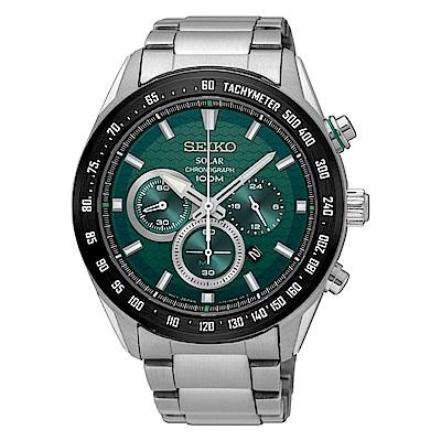 SEIKO 精工Criteria 太陽能 競速賽車三眼計時運動錶-V175-0EE0G S