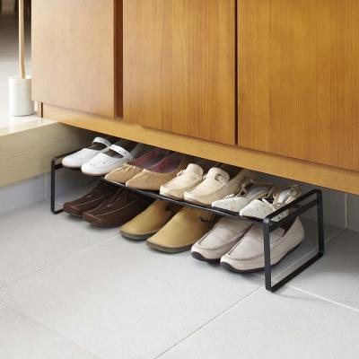 【YAMAZAKI】frame都會簡約伸縮式鞋架-黑★高跟鞋架/萬用收納/鞋櫃/靴架