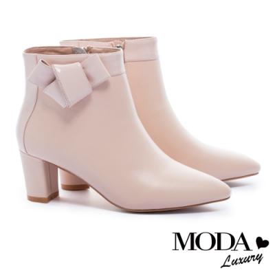 短靴 MODA Luxury 典雅都市扭結裝飾牛皮尖頭粗跟短靴-粉