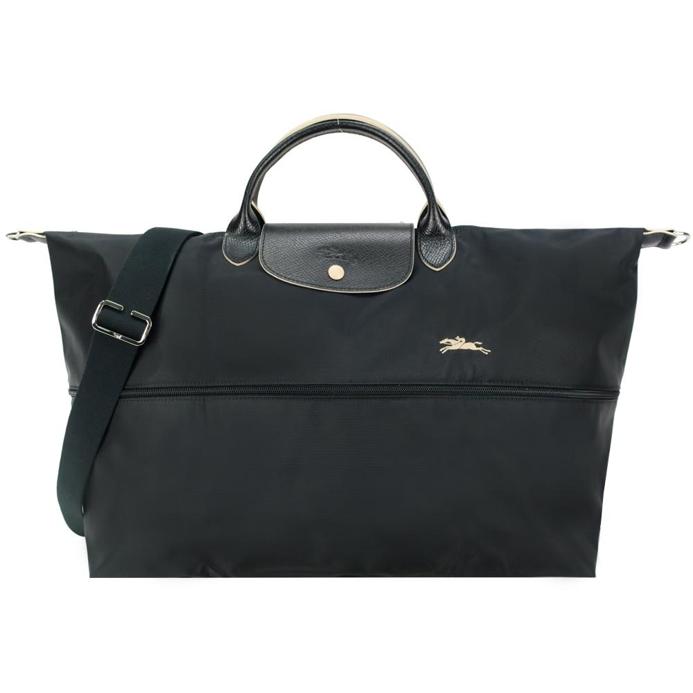 LONGCHAMP Le Pliage Collection刺繡延展夾層兩用旅行袋(黑)