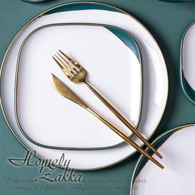 Homely Zakka 北歐輕奢風啞光金陶瓷餐具_方形平盤19.5cm(復古綠)
