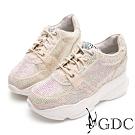 GDC-炫彩滿版水鑽綁帶運動風厚底休閒鞋-金色
