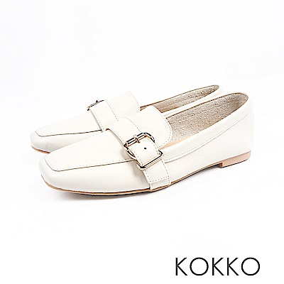 KOKKO-品味梨泰院方頭柔軟彎折樂福鞋-文青白
