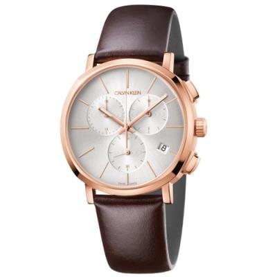 Calvin Klein CK Posh紳士簡約三眼皮帶腕錶(K8Q376G6)43mm