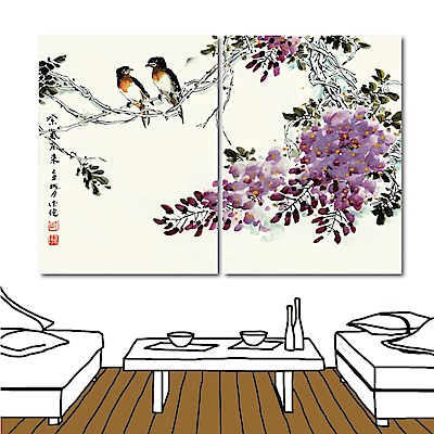 橙品油畫布 二聯式 無框畫水墨中國風-紫色薰香30x40cm