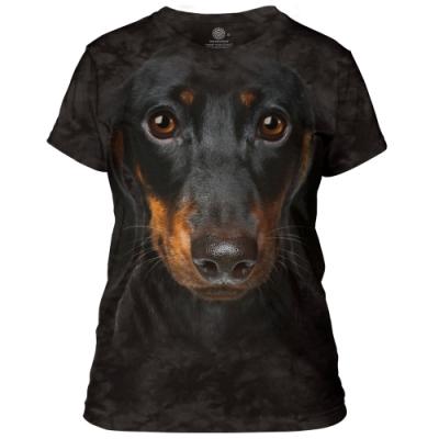摩達客-美國進口The Mountain 長毛臘腸犬臉 短袖女版T恤
