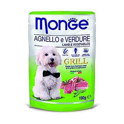 Monge Grill炙燒無穀主食肉塊鮮食包(狗用) 100g - 羊肉+蔬菜X24包入