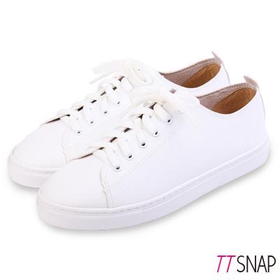 TTSNAP休閒鞋-MIT素面綁帶輕量真皮厚底鞋 白