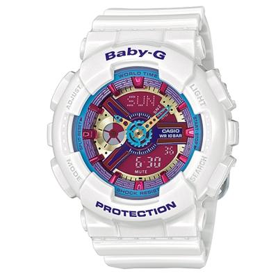 BABY-G 多層次立體感繽紛色彩休閒運動錶(BA- 112 - 7 A)-白色/ 43 . 4 mm