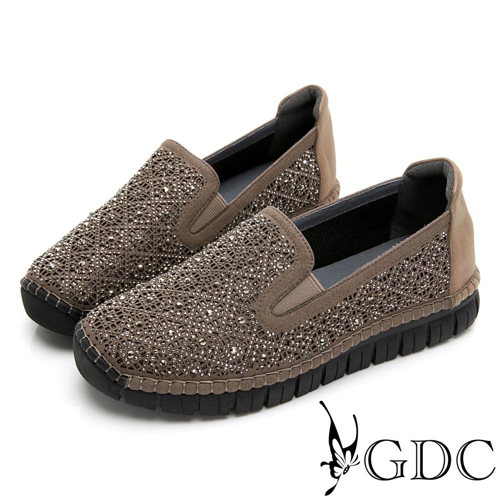GDC-超舒適!熱賣好走水鑽真皮休閒鞋-灰色