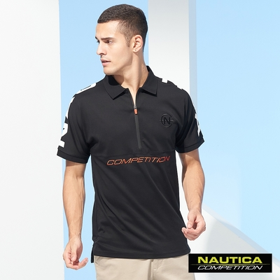 Nautica COMPETITION男裝酷炫連肩半開襟短袖POLO衫-黑