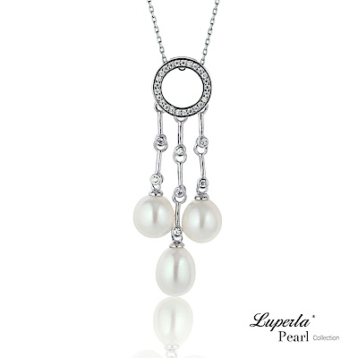 大東山珠寶 純銀晶鑽天然珍珠項鍊  絢麗光芒