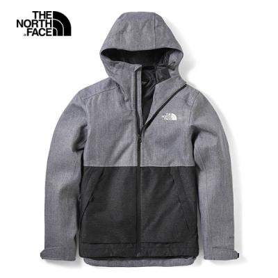 The North Face北面男款灰黑拼接防水透氣風衣外套|3VPKYJL