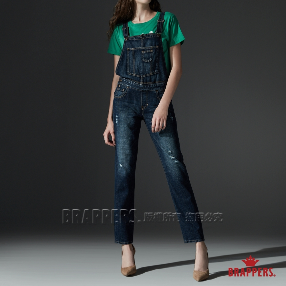 BRAPPERS 女款 Boy friend系列-全棉微割破吊帶長褲-藍
