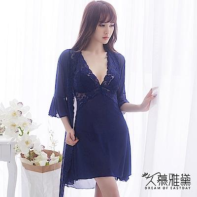 情趣睡衣 甜美誘惑浪漫蕾絲三件式睡衣組。寶藍色 久慕雅黛