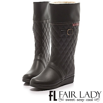 Fair Lady 菱格紋舖毛2way雨靴 黑