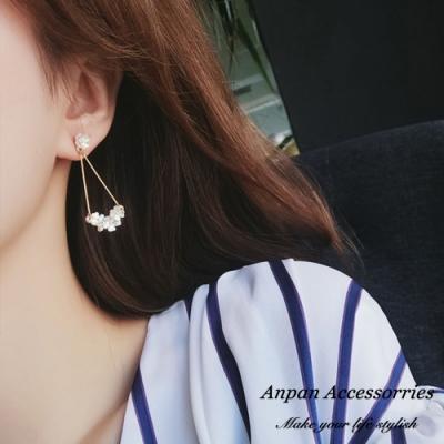 【ANPAN愛扮】韓東大門優雅貝殼花叢925銀針耳釘式耳環
