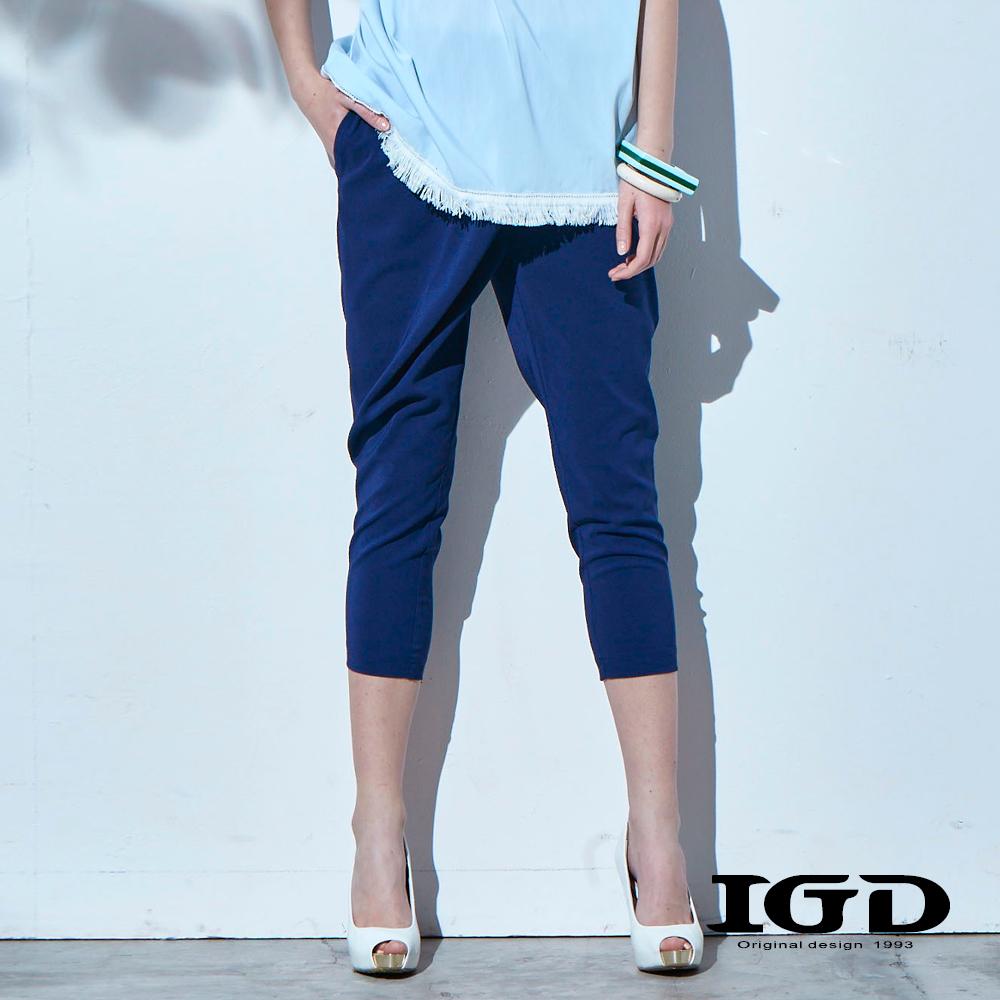 IGD英格麗 修身錐形七分褲-深藍