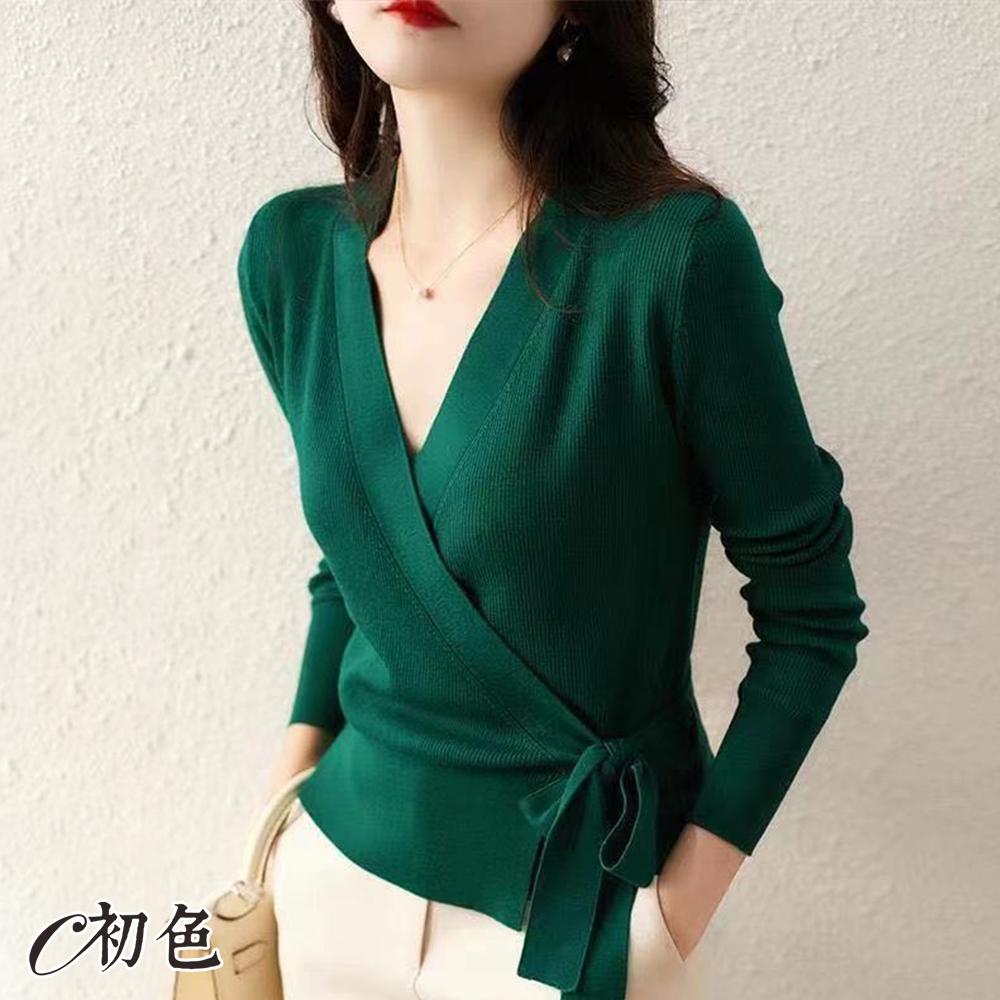 初色  圍裹式綁帶長袖針織衫-共4色-(F可選)