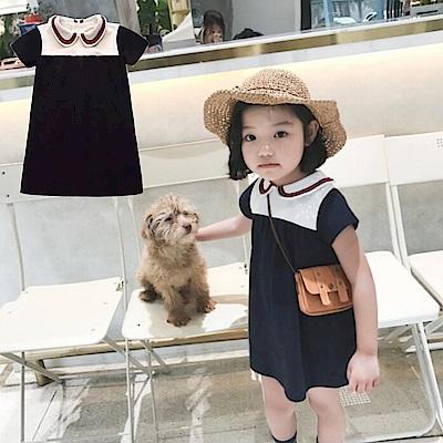 小衣衫童裝    娃娃圓領典雅短袖小洋裝1070513