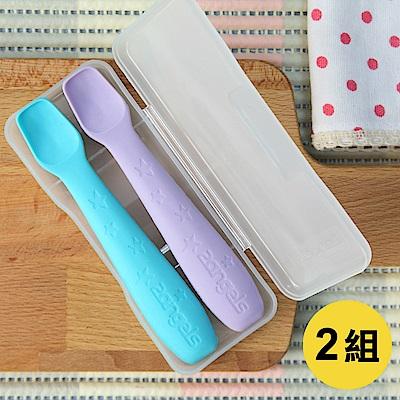 2angels 矽膠餵食湯匙(2入裝)x2組 附專用收納盒