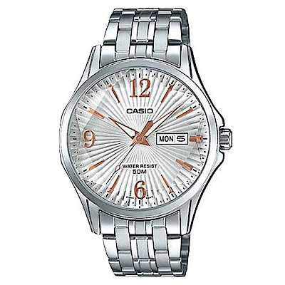 CASIO立體多面切割簡約風格不鏽鋼錶-白面(MTP-E120DY-7A)/47.5mm