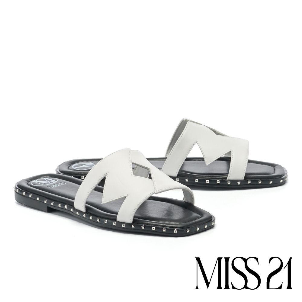 拖鞋 MISS 21 簡約個性鉚釘不規則式剪裁牛皮低跟拖鞋-白