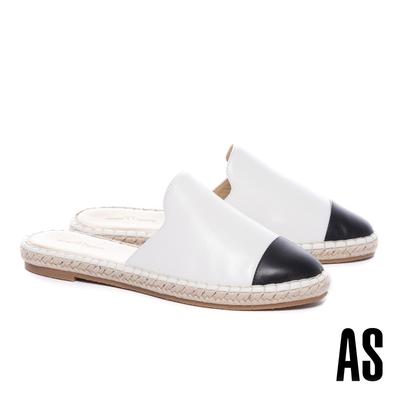 穆勒鞋 AS 率性舒適全真皮撞色拼接草編厚底穆勒拖鞋-白