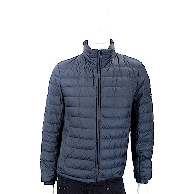 PRADA 三角牌深藍色絎縫連帽羽絨外套(男款/帽可收)
