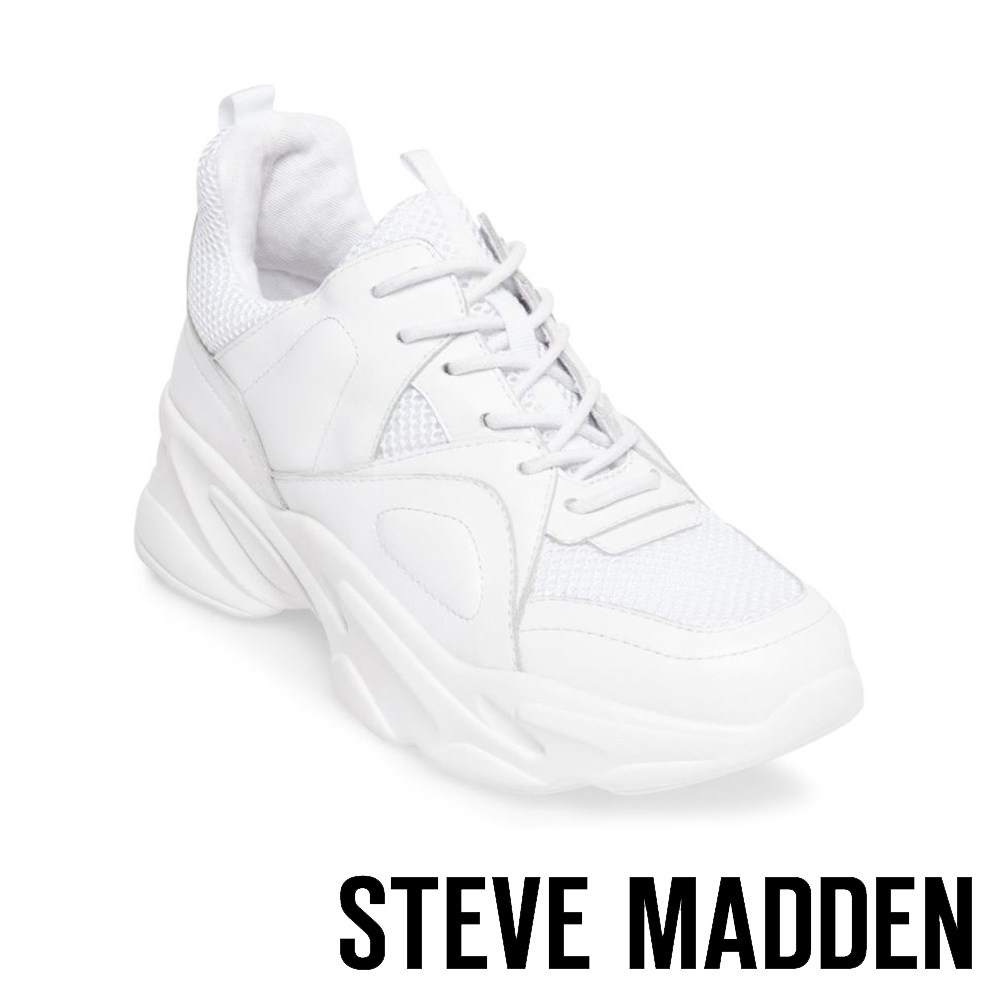 STEVE MADDEN-MOVEMENT 運動系素面增高休閒鞋-白色