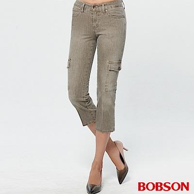 BOBSON 女款超低腰七分伸縮直筒褲