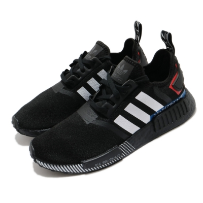 adidas 休閒鞋 NMD R1 襪套式 男女鞋 愛迪達 三葉草 流行 穿搭 情侶鞋 黑 紅 EF1734