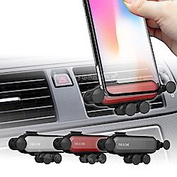 重力式五點撐托 高質感一字隱形車架 車用手機支架(冷氣口式)