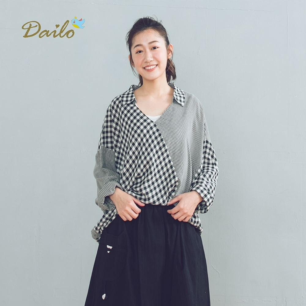 【DAILO】格紋拼接-上衣(共三色)