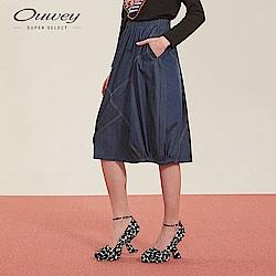 OUWEY歐薇 氣球拼接牛仔裙(藍)