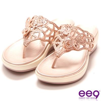 ee9 迷入視覺鑲嵌水鑽厚底夾腳拖鞋 香檳-562370  66