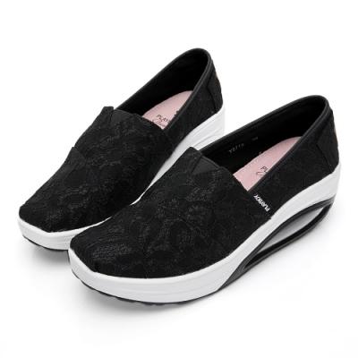 PLAYBOY 蕾絲亮蔥增高休閒鞋-黑-Y5719CC